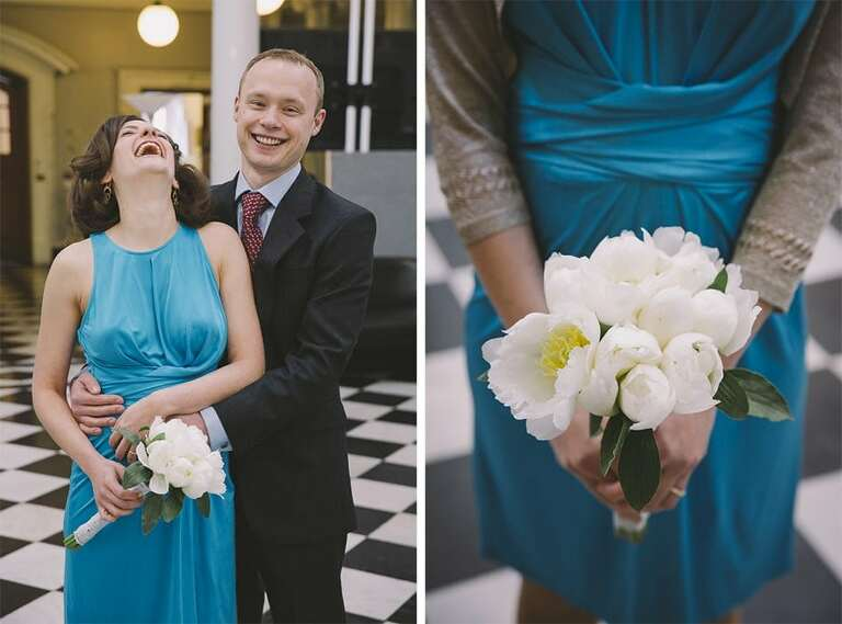A couple are just married at Woolwich Town Hall