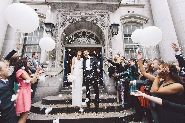 Wedding-Photography-Chelsea-Town-Hall-London-Confetti-1