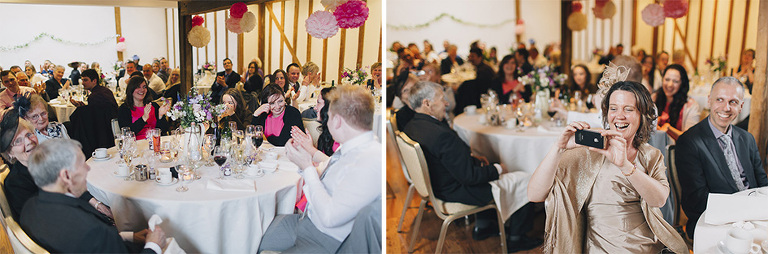 Wedding speeches in Essex barn.