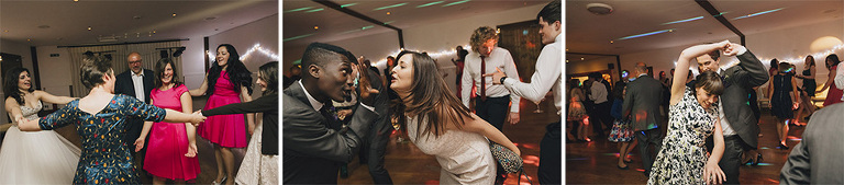 Wedding guests partying at Maidens Barn in Essex