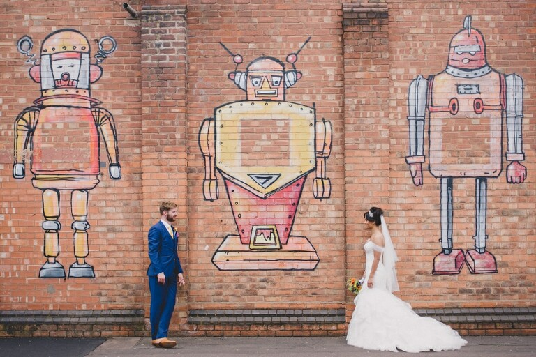 Fazeley Studios Bride and Groom with Graffiti on the wall