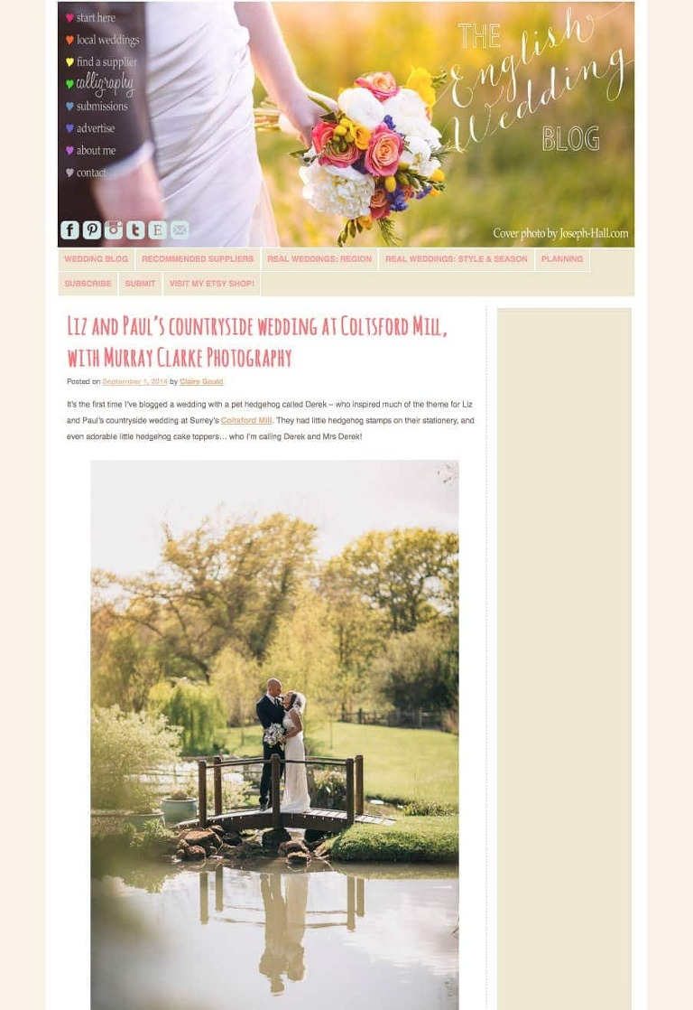~Wedding Photographer Coltsford Mill Oxted English Wedding Blog