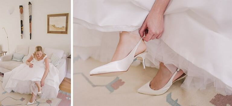 Bride puts on her shoes before heading off to her wedding.