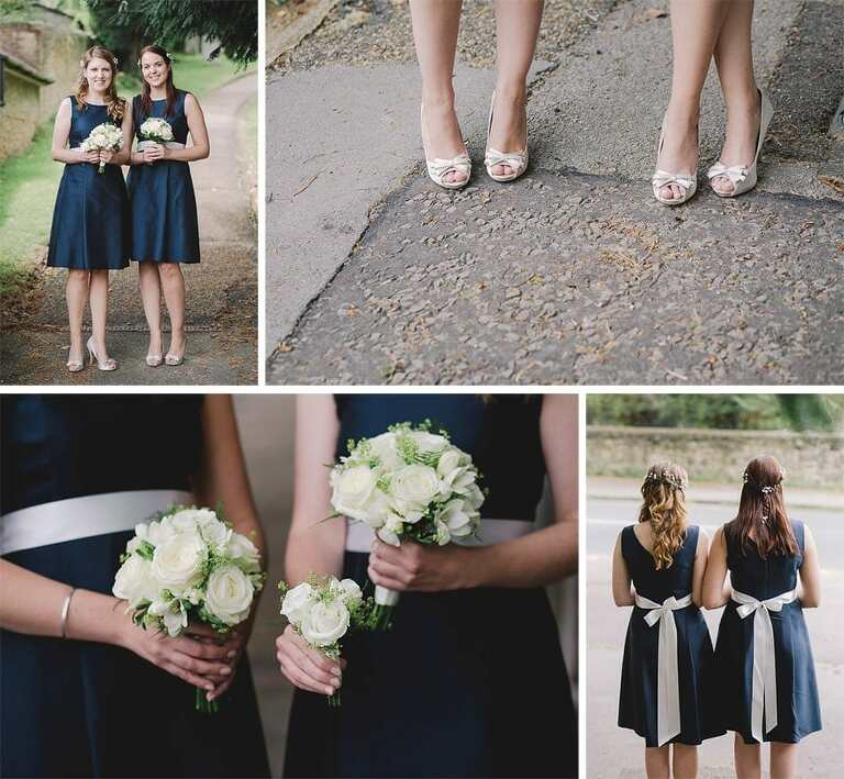 Bridesmaids showing off their blue dresses, flowers and shoes.