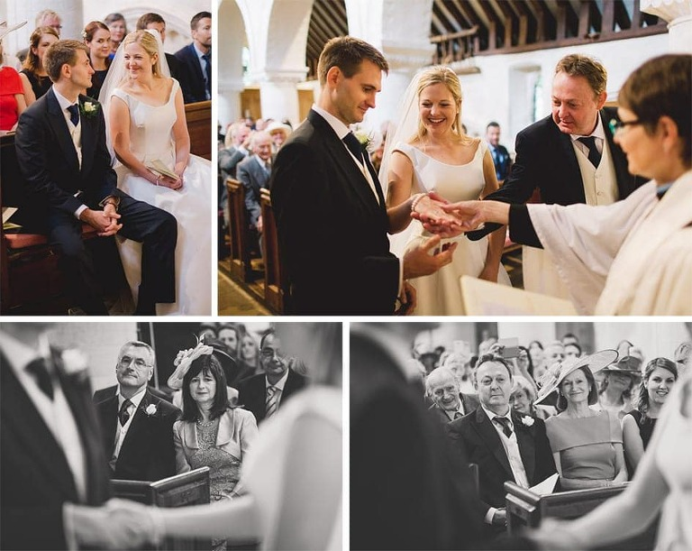 A wedding ceremony at a church, the couple exchange rings.