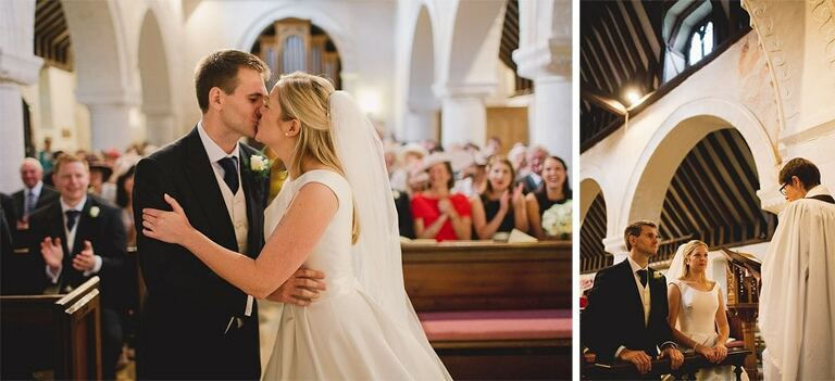 A man and a woman kiss on their wedding day as they are pronounced man and wife.