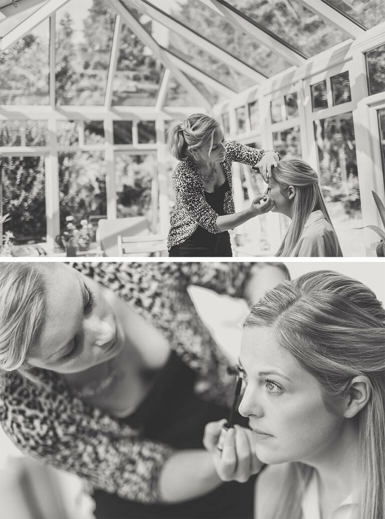 Hair and Makeup in action in action.