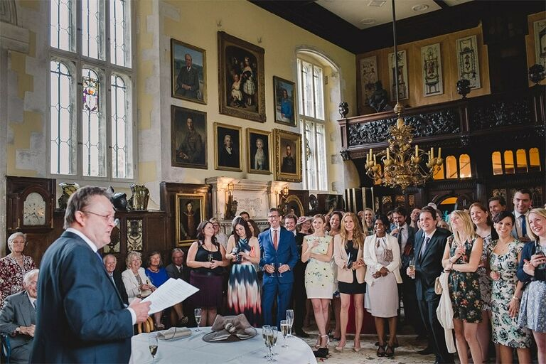 Wedding speeches at Loseley Park.