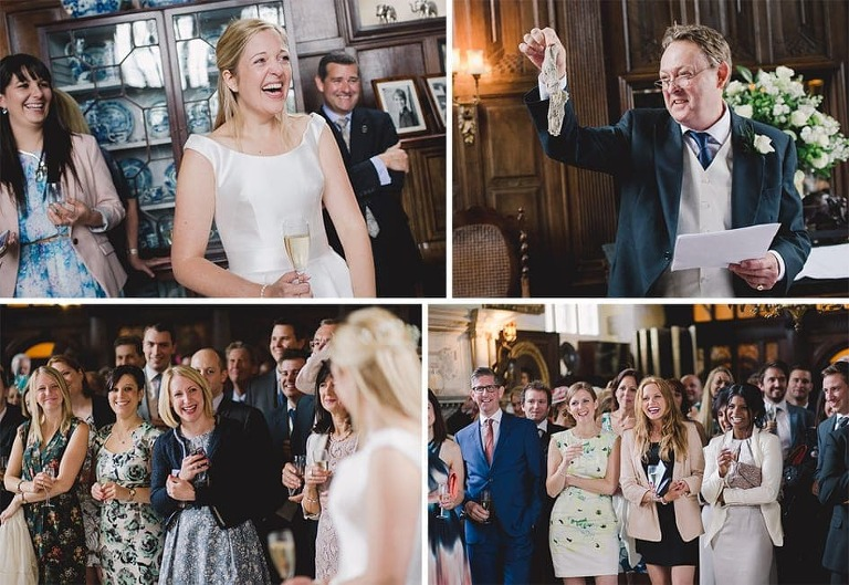 Funny wedding speeches with bride laughing as her father delivers a speech.