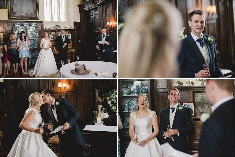 Loseley Park Surrey wedding reception with guests laughing and smiling.