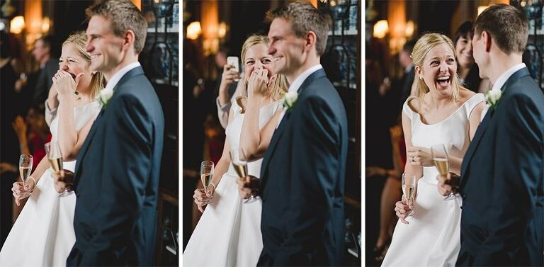A bride laughs at the groom after hearing funny speeches.