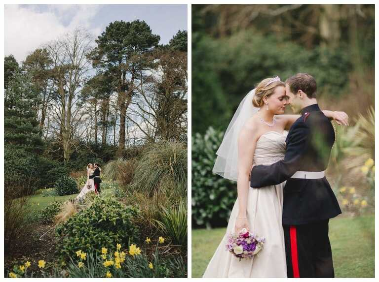 Wedding at Gorse Hill with bride and groom cuddling on a sunny day in Spring.