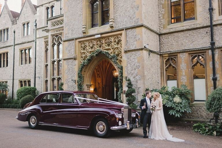 Wedding car at Nutfield Priory.