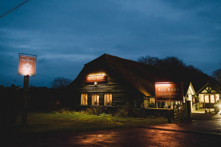 The Red Barn Pub in Lingfield at night.