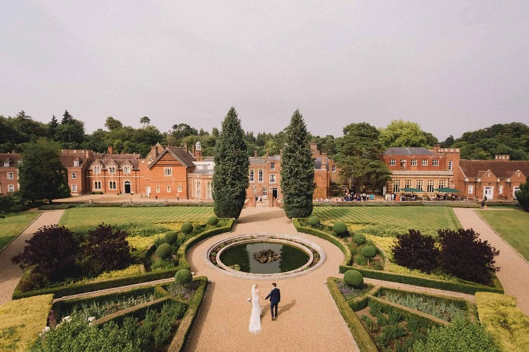 A summer wedding at Wotton house. A view from the temple.