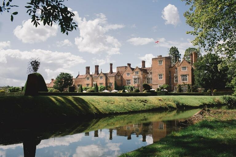 Great Fosters Wedding Venue in Egham on a sunny day.