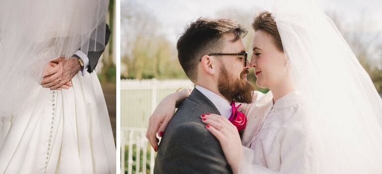 Gorgeous wedding photography of a bride and groom at Morden Hall.
