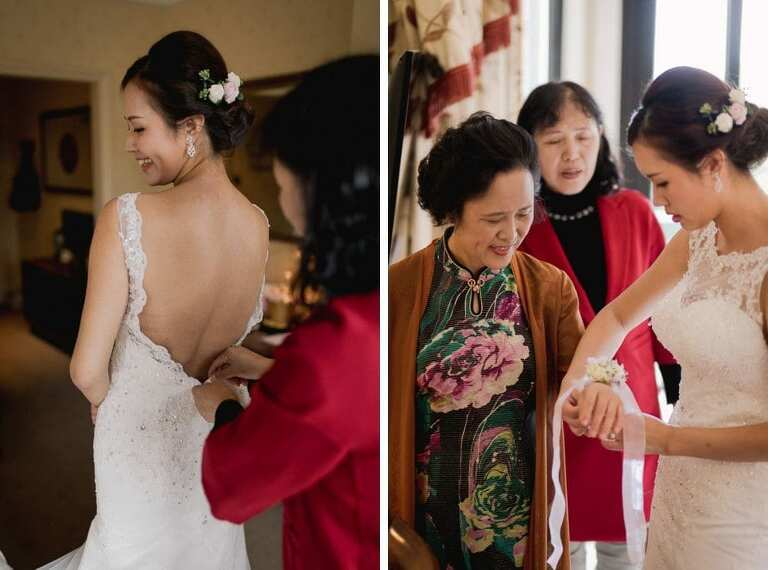 Bridal preparations at the Petersham Hotel in Richmond.