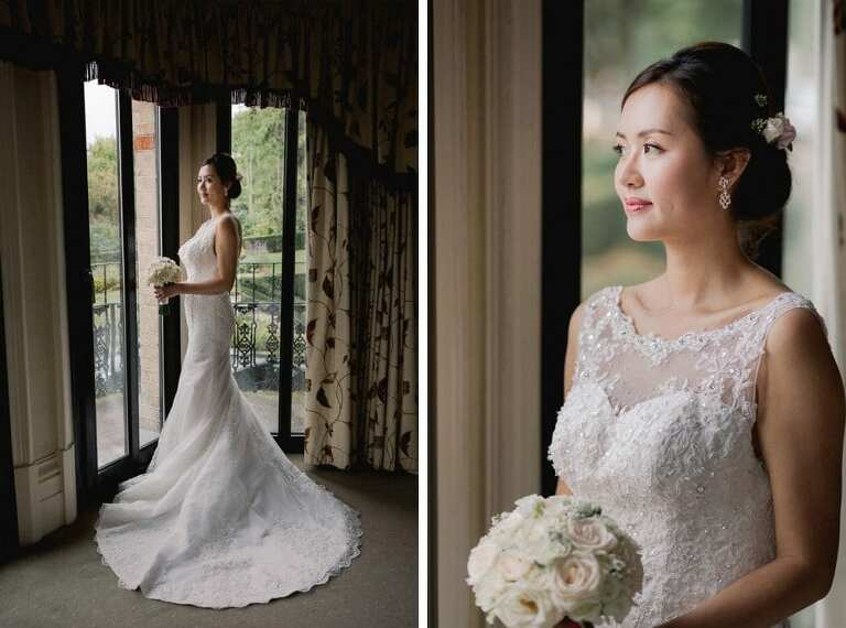 Bridal portraits at the Petersham Hotel in Richmond.
