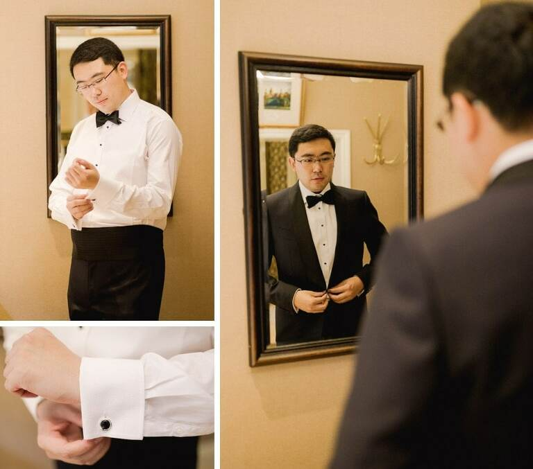 A groom getting ready for his wedding at the Petersham Hotel.