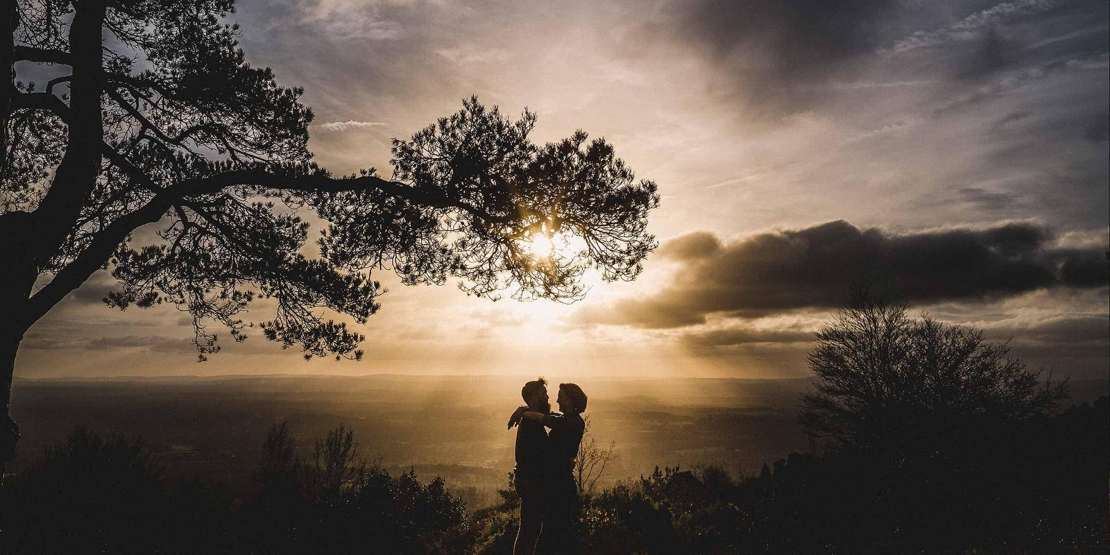 Couple shoot at leith hill at sunset.