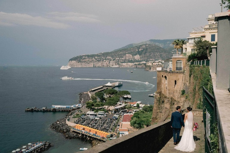Bride and Groom on their wedding day in Sorrento Italy