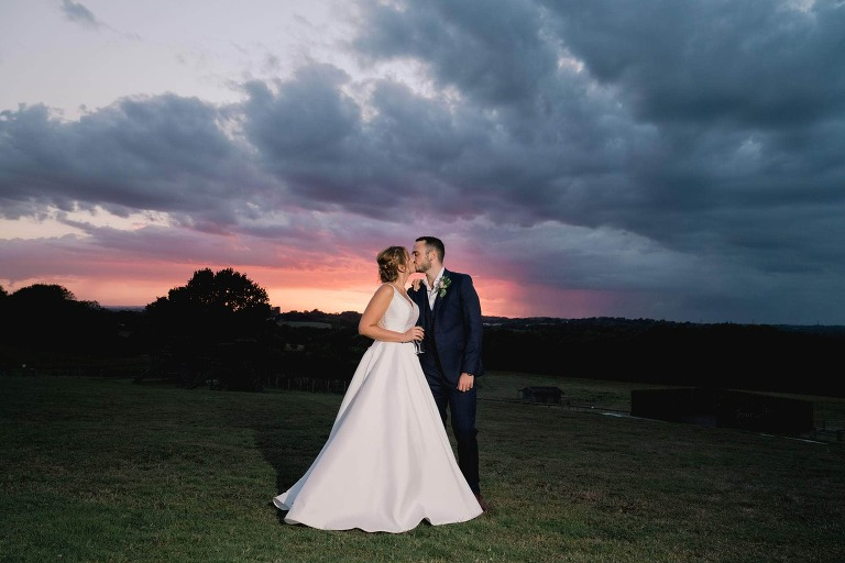 Blackstock Country Estate in Sussex Amazing Sunset with Bride and Groom