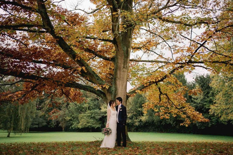 Bride and Groom under a tree at Hartsfield Manor in Surrey