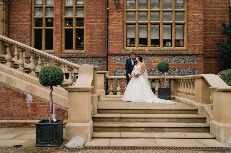Bride and Groom portraits at Marden Park in Surrey.