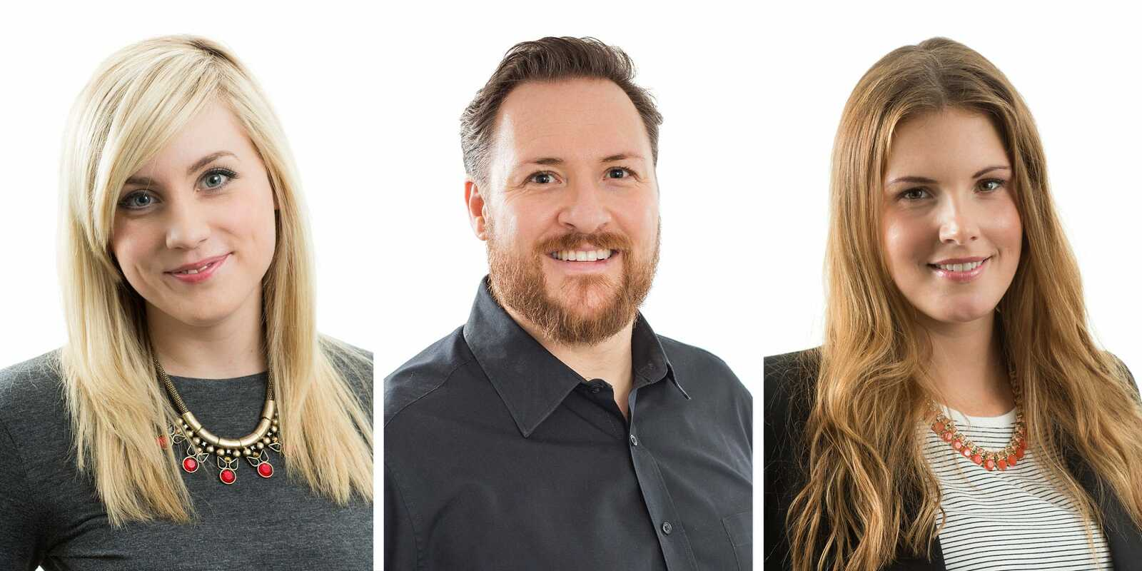 3 business people having a corporate headshot