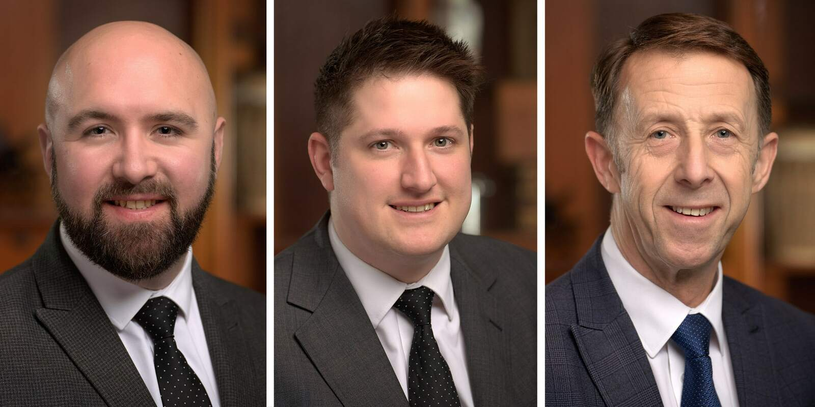 Three corporate headshots of men working for a funeral drector firm in Surrey.